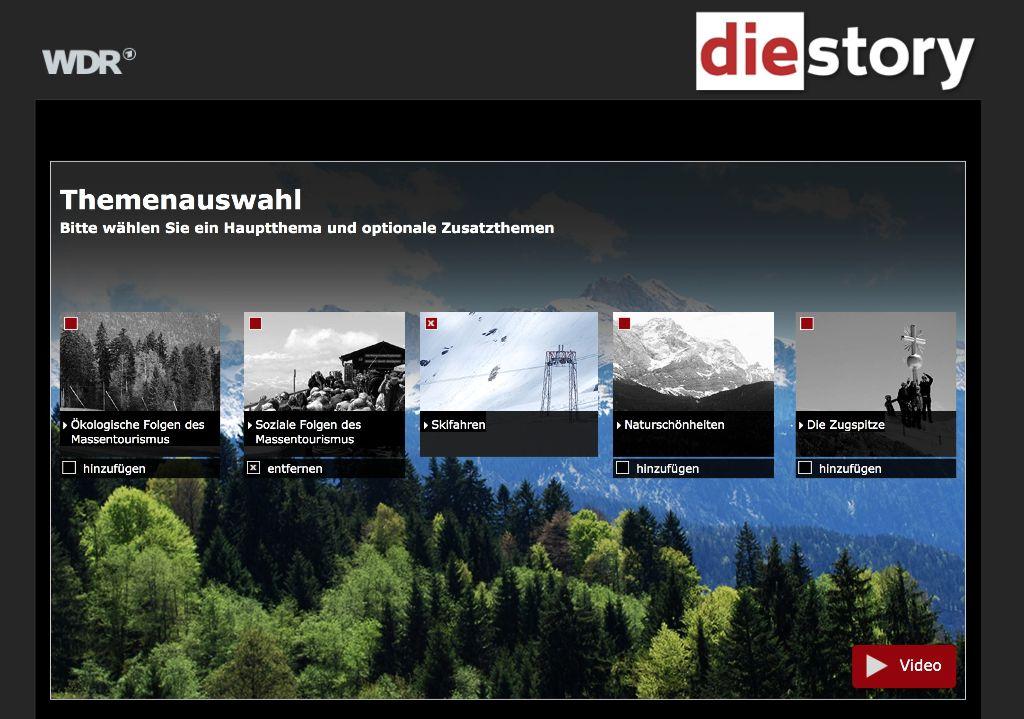 """WDR - die story Interaktiv. Die Startseite von """"Alpen abgezockt – Berge, Schnee und Billiglohn"""""""