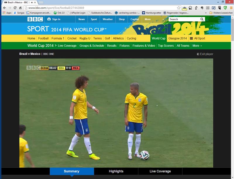Die BBC - Übertragung der Fußball Weltmeisterschaft 2014, genutzt in Deutschland mit dem Google Chrome - Browser und zenmate.