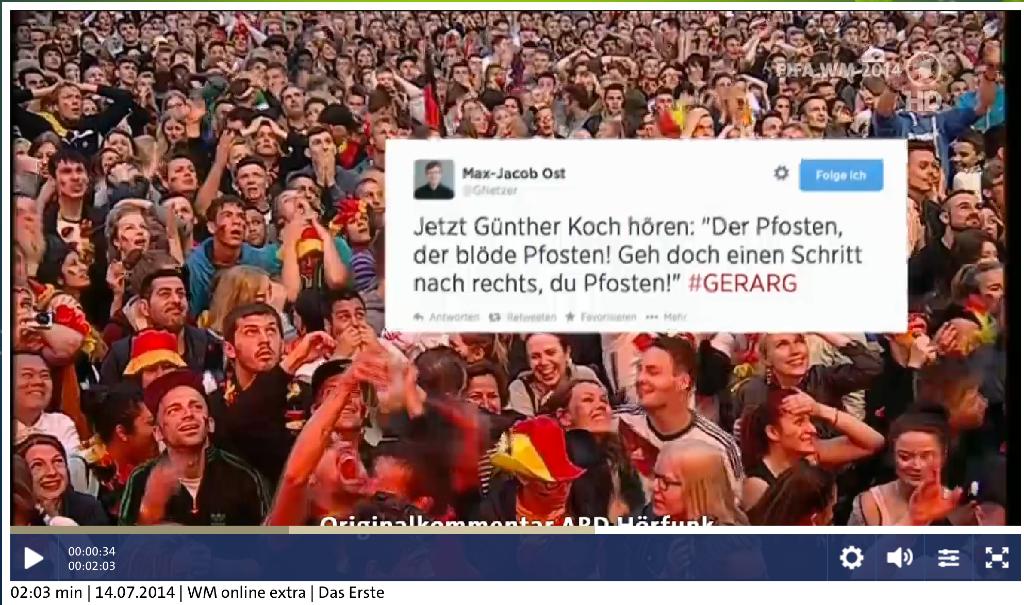 Screenshot aus dem Beitrag der ARD nach dem Finale der FIFA - Weltmeisterschaft 2014.